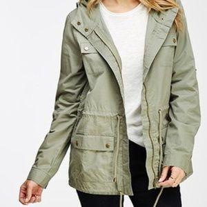 Olive utility jacket with hood